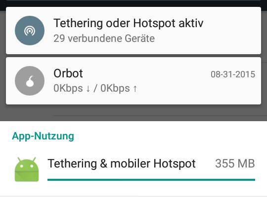 Die übertragene Datenmenge auf dem Hotspot am 01.09.2015 zwischen 0:00 und 2:00 Uhr